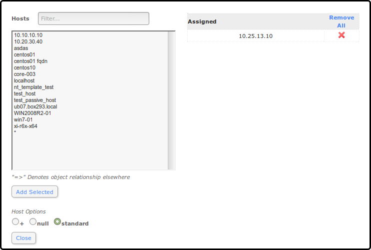 Nagios xi using the core config manager for service management use the manage templates button to associate a template to the host maxwellsz